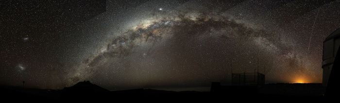 The Milky Way arching at a high inclination across the night sky (fish-eye mosaic shot at Paranal, Chile).Via Wikicommons