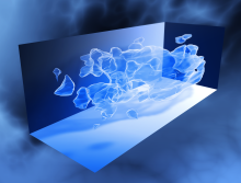 3D map of the large-scale distribution of dark matter, reconstructed from measurements of weak gravitational lensing with the Hubble Space Telescope.