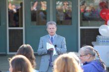 Mat-Su Borough Superintendent Gene Stone at a ribbon cutting at the new Iditarod Elementary School last year. (Matt Hickman/Frontiersman)