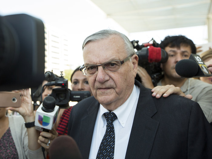 Joe Arpaio leaves a federal courthouse in Phoenix earlier this month. The former Maricopa County sheriff was found guilty Monday of criminal contempt, a charge that carries a maximum sentence of six months in jail. Angie Wang/AP
