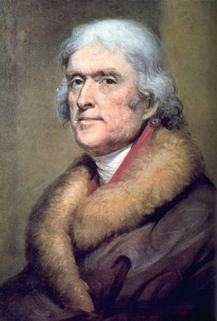 Thomas Jefferson, the author of the Declaration of Independence and third president of the United States, as shown in a painting by artist Rembrandt Peale. (New-York Historical Society/AP)