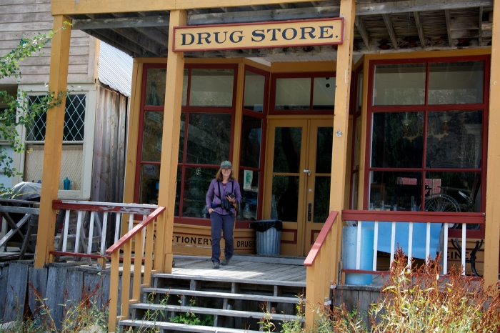 Mrs. WC checks out the restored drug store, Silver City