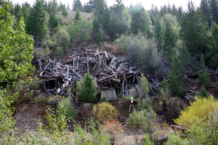 Collapsed mine stamp mill, DeLamar, Idaho, a few miles from Silver City