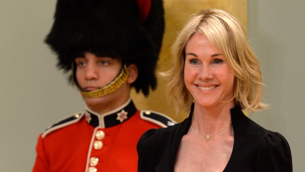 .S. Ambassador Kelly Craft smiles during a ceremony at Rideau Hall today. (Adrian Wyld/Canadian Press)
