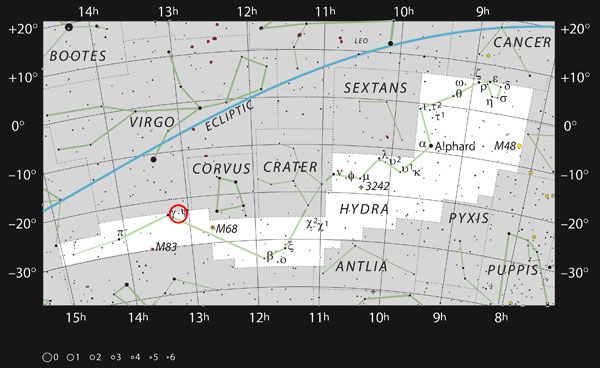 The red circle on this chart shows the location of the galaxy NGC 4993 near the border of the sprawling constellation of Hydra, the Sea Serpent. ESO / IAU / Sky & Telescope