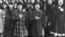 Dorothea Lange, San Francisco, Calif., April 1942 - Children of the Weill public school, from the so-called international settlement, shown in a flag pledge ceremony. Some of them are evacuees of Japanese ancestry who will be housed in War relocation authority centers for the duration, 1942.