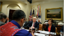 Trump meets with state and tribal leaders at the White House. Photo: Evan Vucci / AP