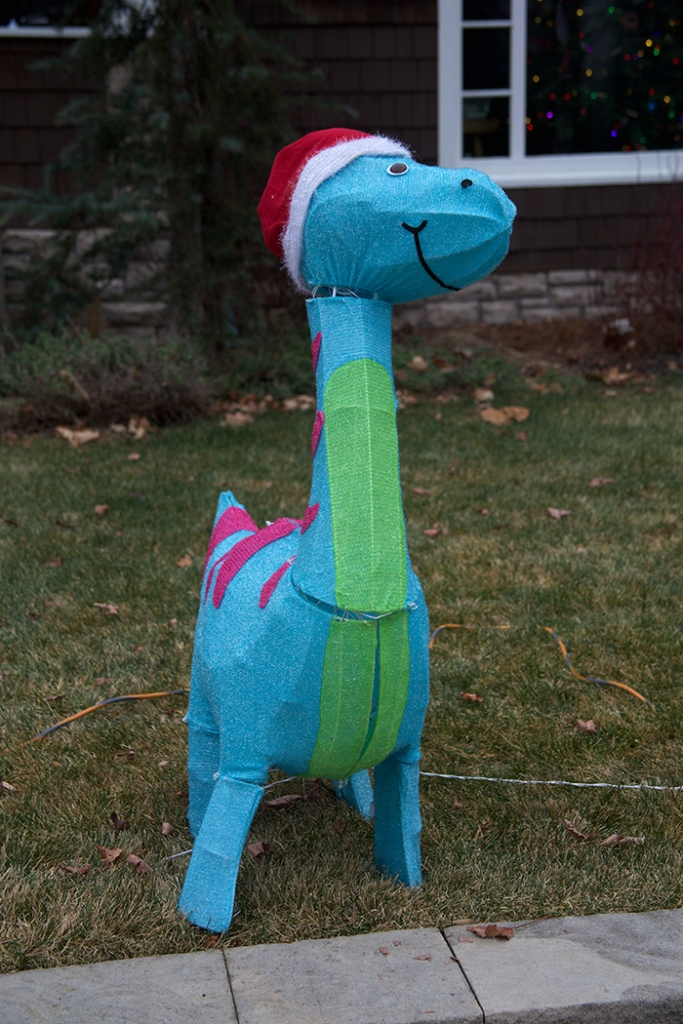Your basic Christmas dinosaur, North End, Boise, Idaho