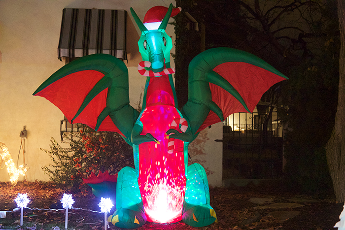 An animated Christmas Dragon, North End, Boise, Idaho