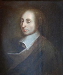 Painting of Blaise Pascal made by François II Quesnel for Gérard Edelinck in 1691.