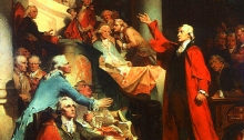 "Painting of Patrick Henry's ""If this be treason, make the most of it!"" speech against the Stamp Act of 1765 (Peter F. Rothermel (1817–1895))"