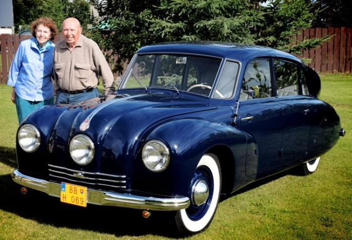 V. Paul Gavora and Donna Gavora, with their 1947 Tatra 87 (photo from the Gavora Family.)