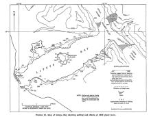 Map of Lituya Bay, showing extent of damage from tsunami (USGS)