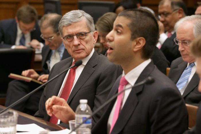 WASHINGTON, DC - MARCH 25: (L-R) Federal Communications Commission Chairman Tom Wheeler (L) listens to FCC Commissioner Ajit Pai testify before the House Judiciary Committee about Internet regulation in the Rayburn House Office Building on Capitol Hill March 25, 2015 in Washington, DC. Wheeler faced a tough line of questioning from the committee's Republicans about the FCC's recent move to regulate broadband Internet service like a utility using Title II of the Communications Act. (Photo by Chip Somodevilla/Getty Images)