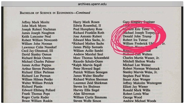 Commencement Program from University of Pennsylvania, Wharton School of Business, he has a Bachelor of Science in Economics