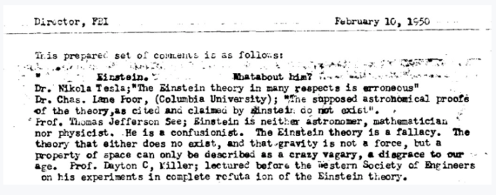 """Proof"" that Einstein was a fraud and that relativity was a Soviet plot to make Americans feel stupid. Or something."