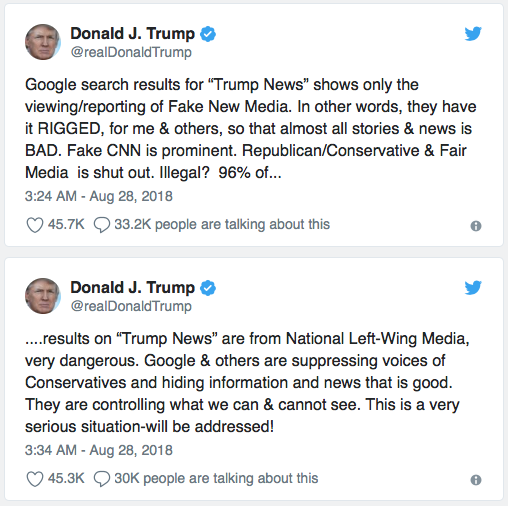 Trump tweets on claimed Google bias, August 28, 2018