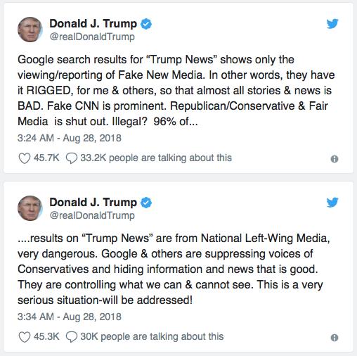 Trump tweets on claimed Google bias, August 28, 2018