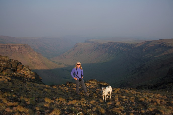 Mrs. WC and Tali at the top of Little Blitzen Gorge, Steens Mountain, Oregon August 1