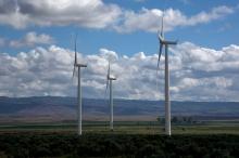 Wind Turbines near Bliss, Idaho, Snake River Plain