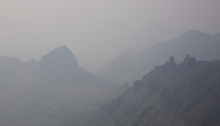 Wild fire smoke, East Rim, Steens Mountain, Oregon