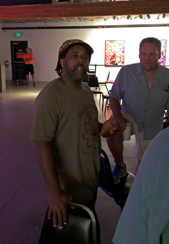 Victor Wooten chatting with some fans, pre-show