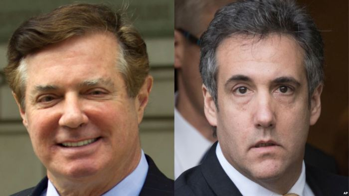 From left, Paul Manafort, former campaign chairman for the Donald Trump presidential campaign, and Michael Cohen, Trump's former personal lawyer. (Photographers not known)