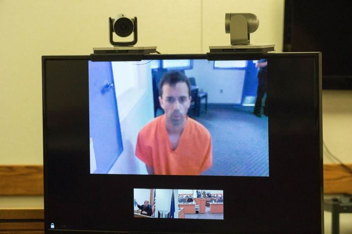 Lukis Nighswonger appears in court via video for his arraignment on charges of sexual abuse of a minor Thursday, Sept. 27, 2018 in Palmer. Nighswonger was a teacher at Iditarod Elementary School and is accused of abusing students there. (Loren Holmes / ADN)