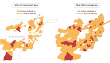 By The New York Times | Sources: Special Inspector General for Afghan Reconstruction (U.S. government data); FDD's The Long War Journal (analysts' data) Notes: U.S. government data is as of May 15, 2018, and analysts' data is as of May 16, 2018. District boundaries are as of 2014.