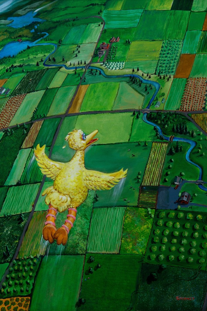 """In a painting titled """"In My Dreams I Can Fly,"""" Spinney depicted the traditionally flightless Big Bird soaring above the countryside. Credit: Cody O'Loughlin for The New York Times"""