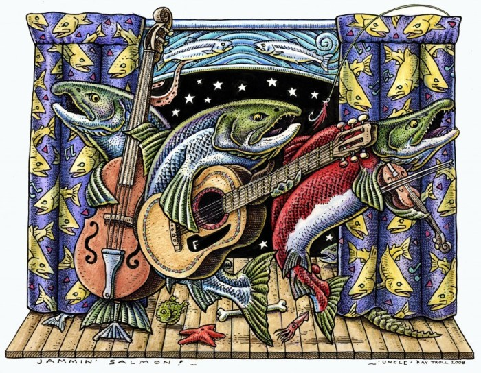 "Ray Troll's ""Jammin' Salmon,"" used with permission"