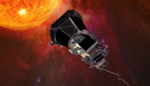 Artist's concept of the Parker Solar Probe spacecraft approaching the Sun. (NASA)