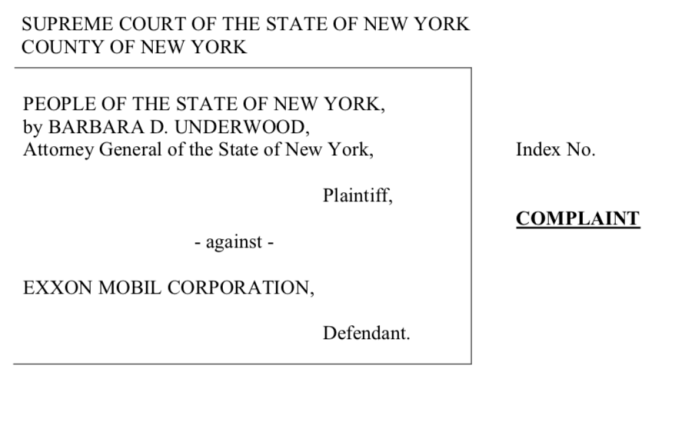 Case caption, State of New York versus Exxon Mobil
