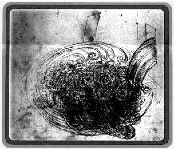 Leonardo da Vinci's sketch of water exiting from a square hole into a pool; circa 1500.