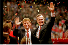 Republican presidential nominee George H.W. Bush, right, and his running mate, Sen. Dan Quayle (R-Ind.), wave to the assembly of the Republican National Convention in New Orleans after delivering their acceptance speeches. J. Scott Applewhite/ASSOCIATED PRESS