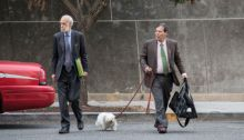 Randy Credico (R) and his dog Bianca arrive at U.S. District Court, September 7, 2018 in Washington, DC. Credico, a comedian with ties to Roger Stone, was subpoenaed by special counsel Robert Mueller and eventually testified before the grand jury.(Photo by Drew Angerer/Getty Images)