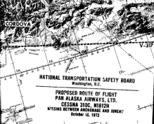 Portion of flight route from National Transportation Safety Board Report 3-0604