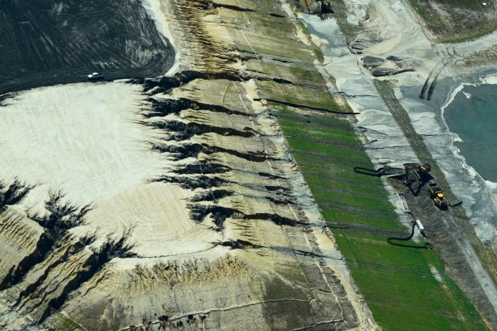 A failed coal ash landfill near Wilmington, N.C., on Wednesday showed heavy damage from Hurricane Florence. Kemp Burdette/Cape Fear River Watch