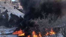Travis Schumm/ Courtesy The Platte River is set on fire following train derailment.