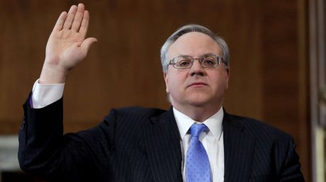 (Yuri Gripas/Reuters) Former energy lobbyist David Bernhardt is sworn in before a Senate Energy and Natural Resources Committee hearing on his nomination of to be Interior secretary, on Capitol Hill in Washington, D.C., March 28, 2019.