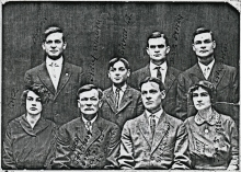 Eight of the nine Bartley kids; Grandpa Walt is in the front row, second from right