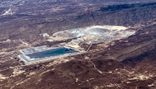 Open Pit Mine (upper right) and Tailings Storage Pond (lower left), Sonora Mexico (from 35,000 feet)