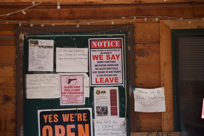 Close-up of the Front Door, Cyndie's Featherville Cafe, Featherville, Idaho