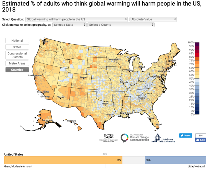 Yale Climate Opinion Maps 2018