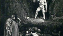 "Gustav Doré, the severed head of de Born speaks, Canto 28, Dante's ""Divine Comedy"""