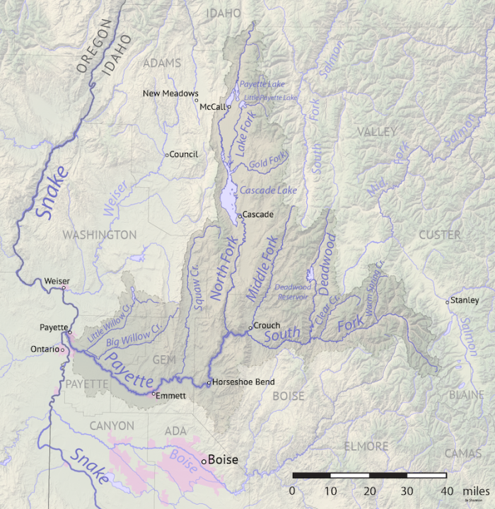 Map of the Payette River drainage basin in western Idaho. Made using USGS National Map and NASA SRTM data.