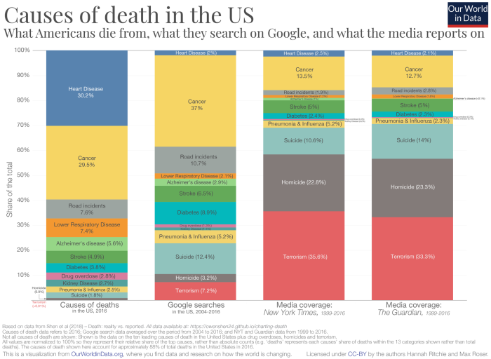 Causes of Death in the U.S. (2016 data). From Richie and Roser, Creative Commons license