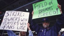 Fans at Wrigley Field protest the potential players strike in August 1994 Getty Images