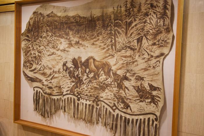 """His Last Battle,"" by William Beltzeler, 1920; pyrography on moose hide"