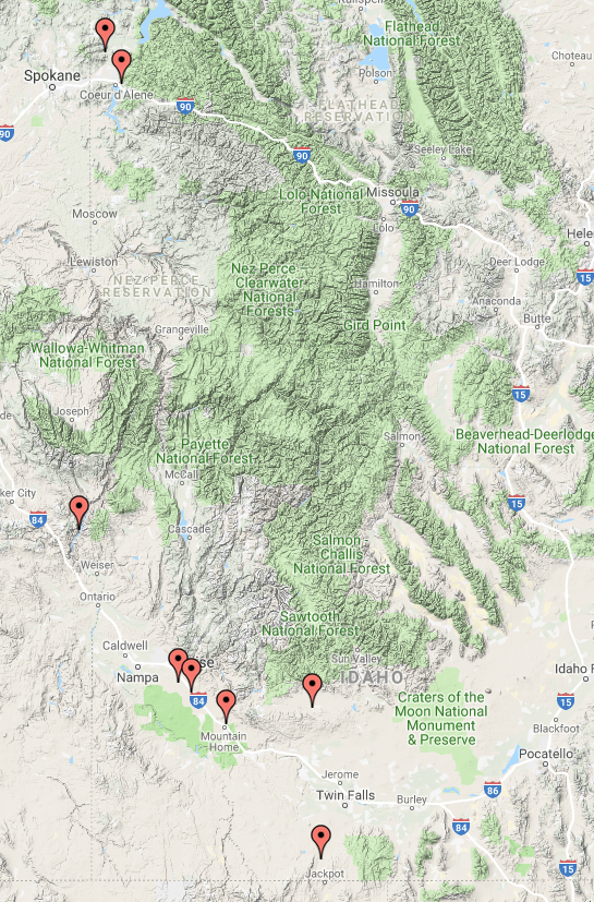 Identified Toxic Algae Blooms at August 7, 2019, per Idaho Department of Environmental Quality